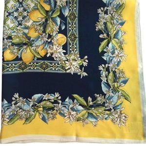 Dolce and Gabbana lemon with navy silk scarf